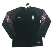 2018 France Black Long Sleeve GoalKeeper Black Jersey
