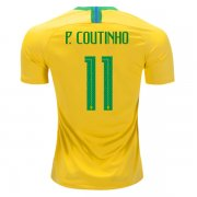 2018 World Cup Brazil Home Jersey Flock P. COUTINHO 11#