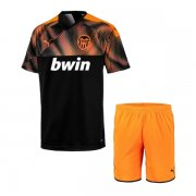 19/20 Valencia Away Black Soccer Jersey Kids Kit