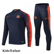 Kids Barcelona Black Sleeve Orange Print Tracksuit 1819