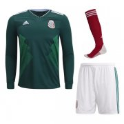Mexico Home Long Sleeve Full Kit Socce Jersey 2018