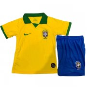 2019 Brazil Home Yellow Kids Jersey Kit