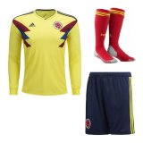 2018 Colombia Home Long sleeve Full Kit soccer Jersey