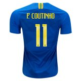 2018 World Cup Brazil Away Jersey Flock P. COUTINHO 11#