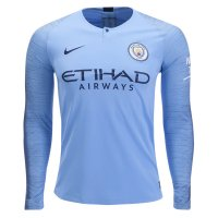1819 Manchester City Long Sleeve Home Soccer Jersey